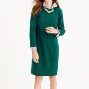 J. Crew Green Overlapped Tulip Shift Dress Size 12